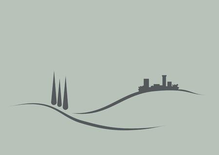 logo de comida: Ilustraci�n estilizada y reducci�n del t�pico paisaje de Toscana para utilizarse como el logotipo, el icono o el emblema