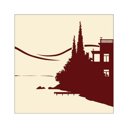 湖畔の古いヴィラの手作りイラスト  イラスト・ベクター素材