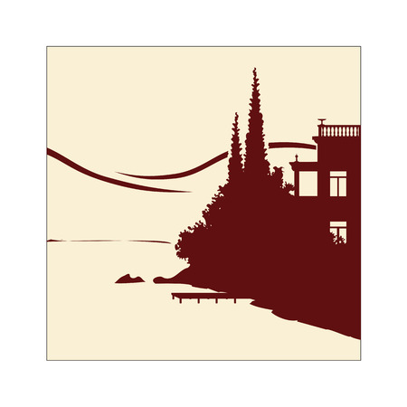 Handmade illustration of an old villa at the lakeside Stock Vector - 7051636