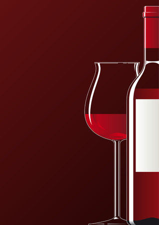 Illustration of a bottle and a glass filled with red wine