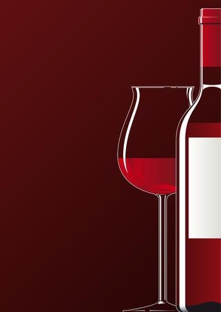 Ilustración de una botella y un vaso lleno de vino tinto Ilustración de vector