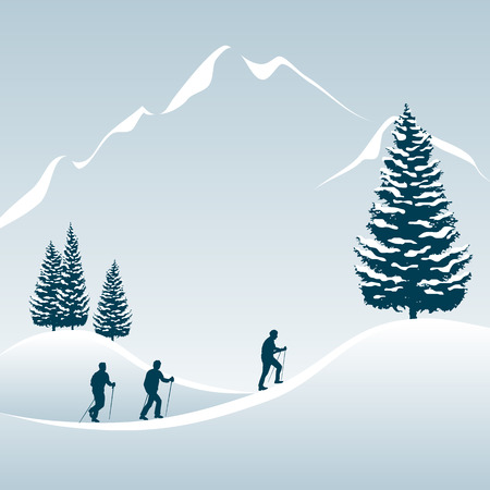 man hiking: Illustration of 3 people enjoying a walking tour in the snowy mountains Illustration