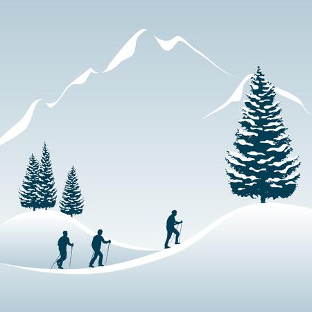 neve montagne: Illustrazione di 3 persone che godono di un tour a piedi nelle montagne innevate  Vettoriali