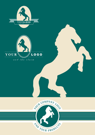 Illustrated silhouette of a horse to be used as a logo Illustration