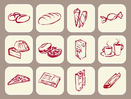 食べ物、飲み物、マガジン、新聞を示すアイコン