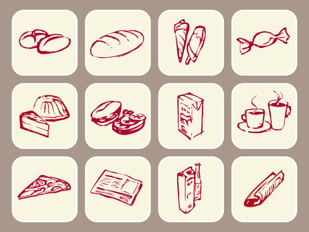 cappucino: Pictogrammen die aanduiden van eten, drinken, magazin en krant  Stock Illustratie