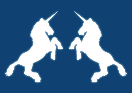 legend: Illustration of white unicorns with a blue background