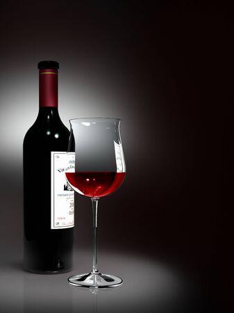 ボトルと赤のグラスワイン (ラベルは架空のものです) 写真素材