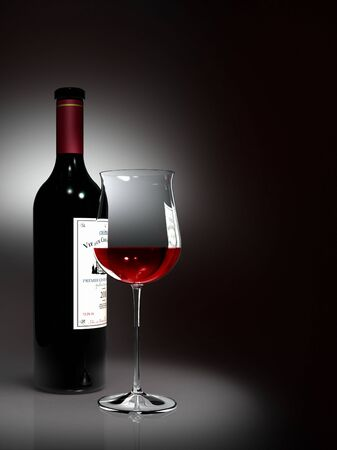 est: Bottle and glass of red wine (the label is fictitious) Stock Photo