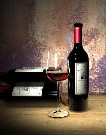 Premier Grand Cru Rendu (l'étiquette sur la bouteille est fictif) Banque d'images - 7919974