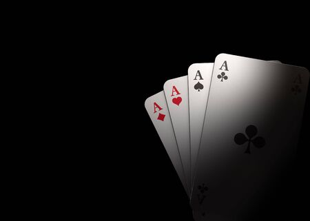 ace of clubs: Playing Cards with black background
