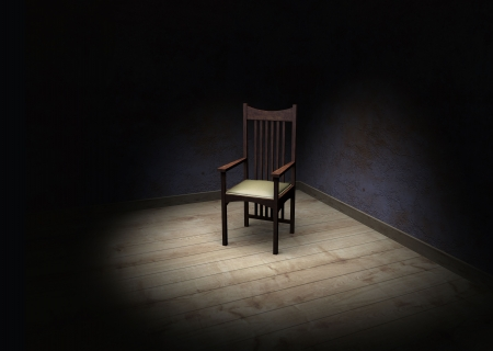 zatrważający: Stare krzesÅ'o w ciemnym pomieszczeniu