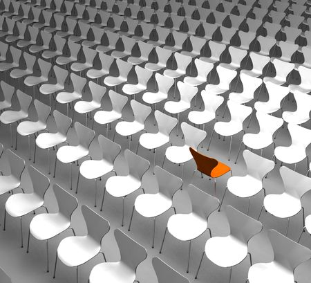 one orange chair in rows of white chairs
