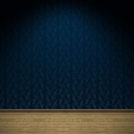 空部屋インテリアの古代の青いサテンの壁紙