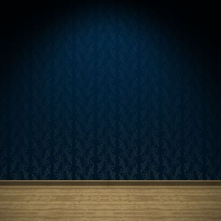 Empty room Interior with ancient blue satin wallpaper Stock Photo