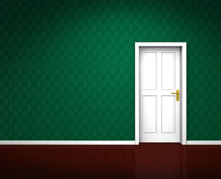 Rendering of an old room with a white wooden door and vintage green wallpaper