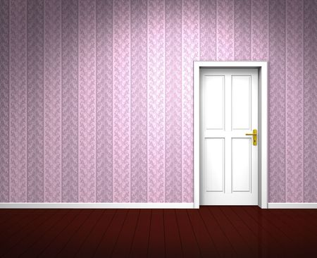 Rendering of an old room with a white wooden door and vintage rose wallpaper photo