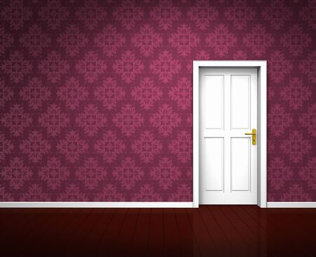 Rendering of an old room with a white wooden door and vintage violet wallpaper photo