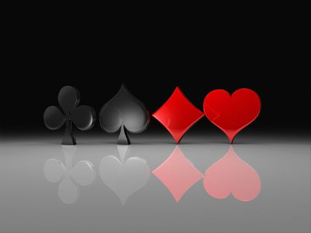 Clubs, spades, hearts and diamonds Rendering Stock Photo - 7919973