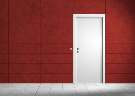 Rendering of an an empty room with red wall and white door Reklamní fotografie