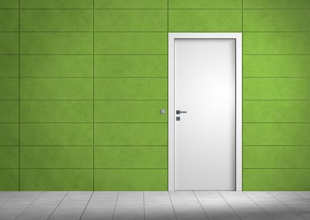 door way: Rendering of an an empty room with green wall and white door