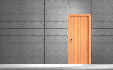 Rendering of an an empty room with grey wall and wooden door photo