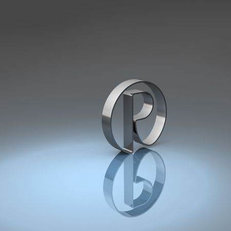 Rendering of a metallic registered symbol with blue and grey background Stock Photo - 7919969