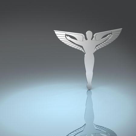 銀のカドゥケウス 写真素材