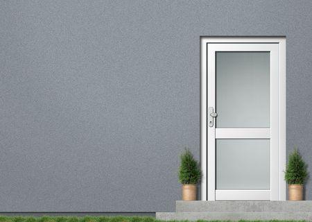 白い入り口と灰色モダンハウス前面図