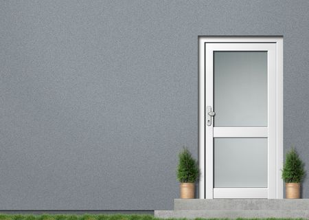 glass doors: Illustration of a modern grey house front with white entrance Stock Photo