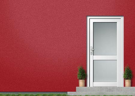 白い入り口と現代赤い家前面図
