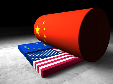 Metaphorical illustration that shows china rolling over the United States and Europe Stock Photo