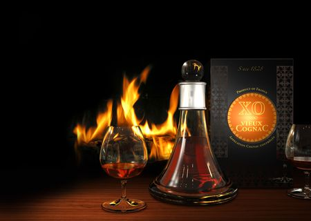 Rendering of old XO Cognac at the fireplace - the packaging is fictitious photo