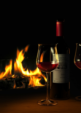 Rendering of a bottle of  fictitious red wine and glasses with a fireplace in the background