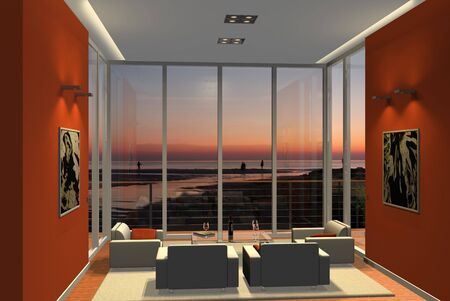 mallorca: Virtual living room with a viwe to the beach in the sunset Stock Photo