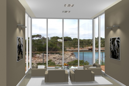 Virtual living room with a fantastic view Reklamní fotografie