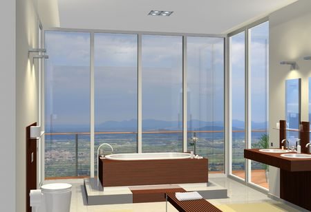 balcony window: Rendering of a modern bathroom with fantastic view Stock Photo