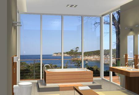 モダンなバスルームが、湾の素晴らしい景色のレンダリング 写真素材