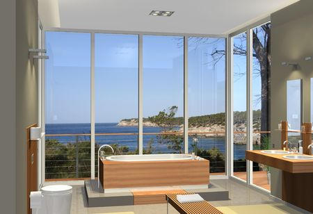 huge: Rendering of a modern bathroom with a fantastic view to a bay Stock Photo
