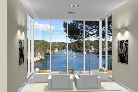 Virtual living room with a view to a small harbour photo