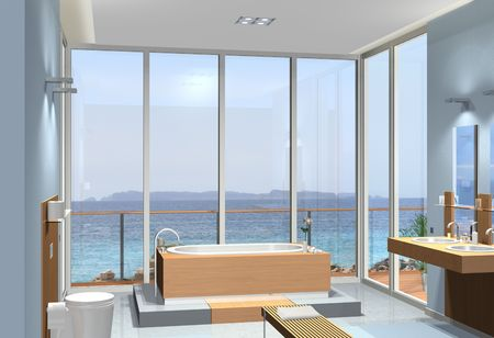 Rendering of a modern bathroom with a fantastic view to the sea