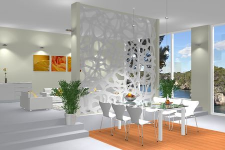 Virtual modern interior scene photo