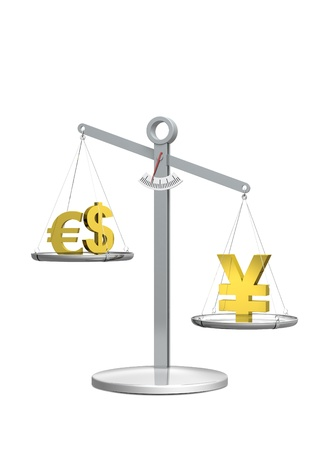 valuta: Strong Yen with white Background Stock Photo