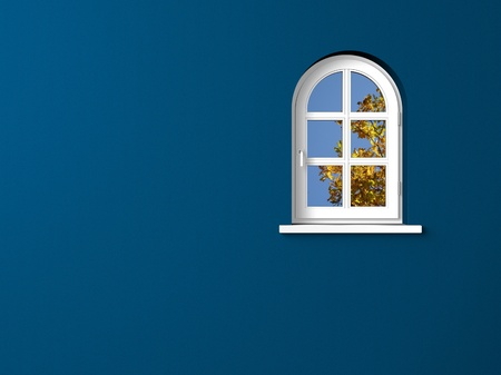 白い窓と壁の青