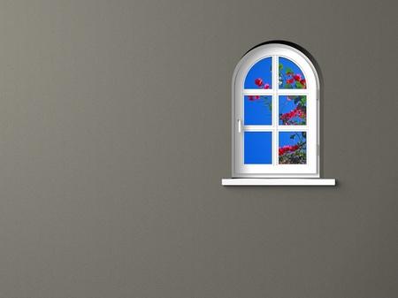 white window and grey wall photo