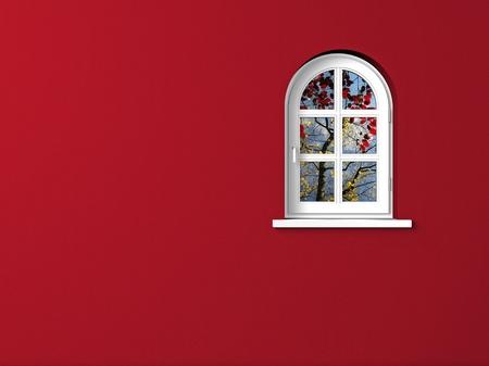 白いアーチ型の窓と赤い壁