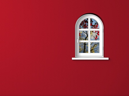 arched: white arched window and red wall