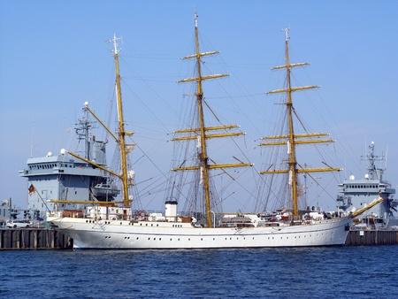 kiel fjord: Gorch Fock at the Tirpitzharbor in Kiel