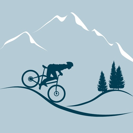man hiking: Man with mountain bike Illustration