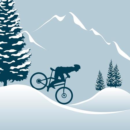雪の山でマウンテン バイクに乗る  イラスト・ベクター素材